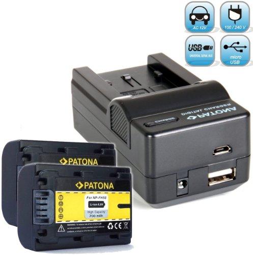 PATONA Ladegerät 4in1 mit 2X Ersatz für Akku Sony NP-FH50 mit Infochip (neueste Generation / 100 Prozent kompatibel)