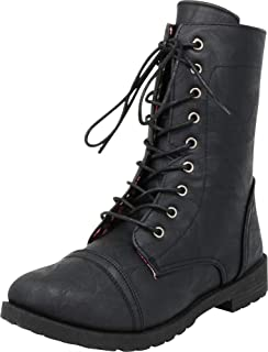 Cambridge Select Women's Classic 90s Chunky Lug Sole Lace-Up Combat Boot