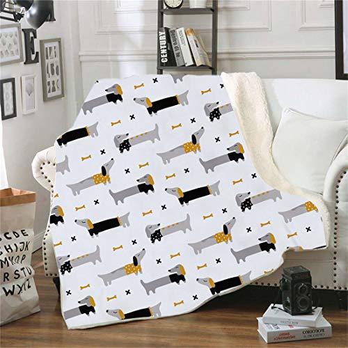Samt Leichte Decke, Morbuy 3D Kuscheldecke Sofadecke Bettüberwurf Erhältlich Decke Tagesdecke Decke für Sofa und Bett Falten-beständig Schmusedecke (150x200cm,Dackel)