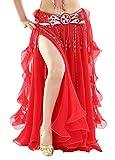 BellyQueen Damen Bauchtanz Kleider Orientalische Kostüme Performance Kleid Outfit Bauchtanzröcke Tanzrock-Rot