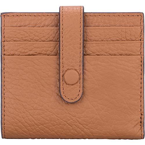LuTer Damen Geldbörse aus echtem Leder, RFID-blockierend, schmal, Brieftasche mit ID-Fenster, minimalistische Vordertasche mit Schnappverschluss -  Braun -  Klein