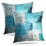Alricc Set of 2 Turquoise and Grey Art Artwork Contemporary Decorative Gray Home Decorativ...