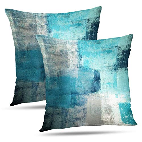Save %23 Now! Alricc Set of 2 Turquoise and Grey Art Artwork Contemporary Decorative Gray Home Decor...