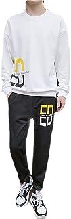 MogogoMen Casual Loose Sports 2-Piece Pocket Pullover Sport Sweat Suit Set