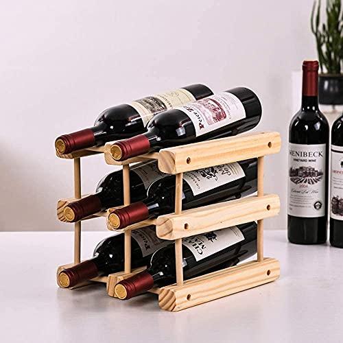 Estante de vino de madera con estante extraíble para 6 botellas de vino