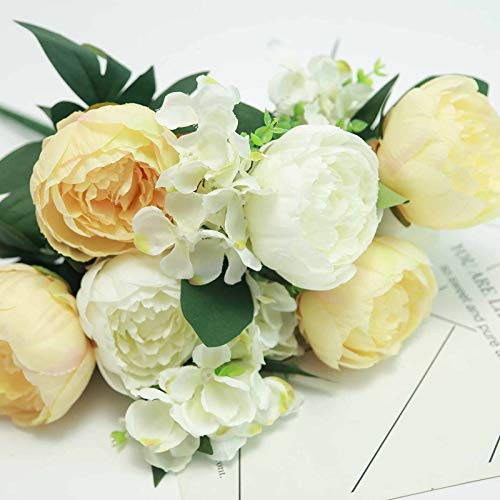 Efavormart 2 Bushes Light Yellow/White Peony and Hydrangea Artificial Silk Flower Bouquets for Wedding Home Floral Arrangement