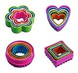 Kaiyingxin Set di formine per Biscotti, BPA-Free plastificata in plastica tagliabiscotti Stampi, Formine per Biscotti Tagliabiscotti Stampi(Fiori, tondi, Quadrati, Forme di Cuore