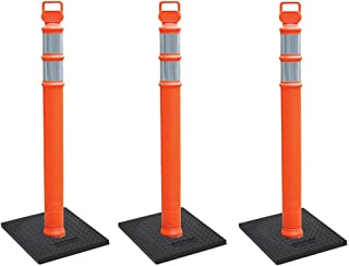 "Cortina EZ Grab Delineator 45"" Post, 3"" Hip Collars with 10 lb Base, 03-747RBC-3, Orange, 3 Pack"