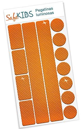 Pegatinas luminosas SafeKIDS, NARANJA, 13 unidades para cochecitos de bebé, bicicletas, cascos...