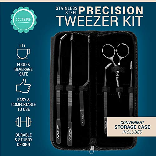 O'Creme Set of Culinary Tweezer Tongs Offset, Straight and Curved, Plus Super Sharp Chef Scissors, Total 6 Pieces (Black)