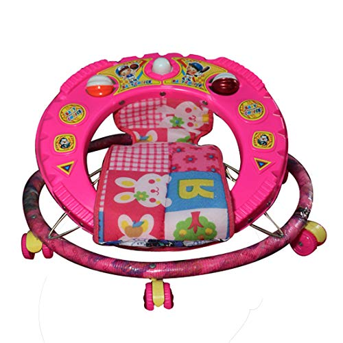 Baby Boy's Round Base Double Horn Height Adjustable Walker with Jhula in Indian Style (Pink, 9 Months-1.5 Years)