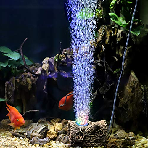 hygger 3 in 1 Aquarium Bubble Decoration Light, Fish Tank Air Stone Led Ornament with 3 Color Lights Resin Tree House Fish Hideout Cave 1.2W