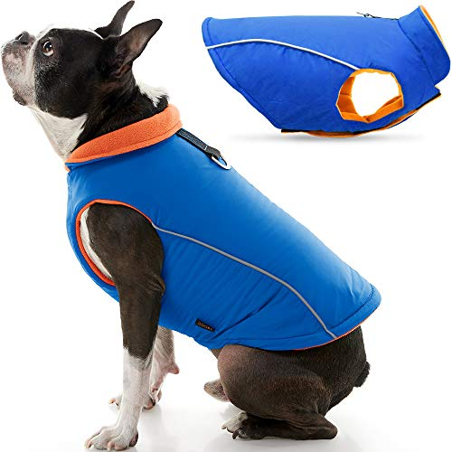 Gooby Sports Dog Vest - Blue, X-Small - Fleece Lined Dog Jacket Coat with D Ring Leash - Reflective Vest Small Dog Sweater, Hook and Loop Closure - Dog Clothes for Small Dogs Indoor and Outdoor Use