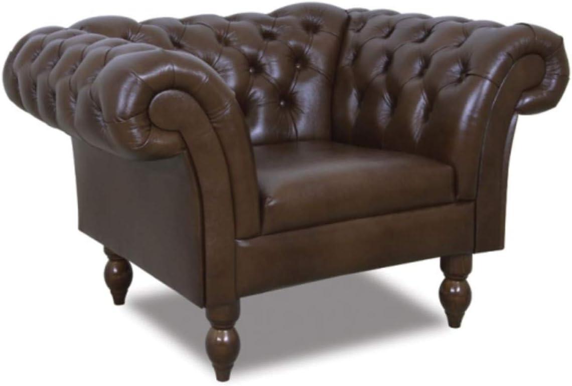 Casa Padrino Chesterfield Sillón de Cuero Marrón Oscuro 130 x 90 x H. 80 cm - Muebles de Salón en Diseño Chesterfield