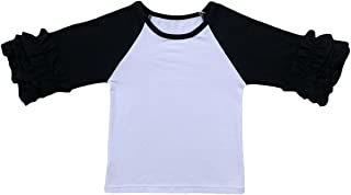 2e8abcd6 Toddler Little Girls Icing Ruffle Shirts Kids Raglan Baseball 3/4 Sleeves T- Shirt