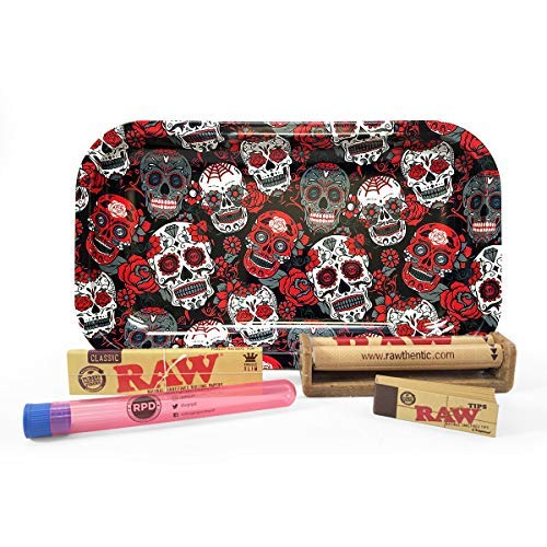Bundle - 5 Items - Raw King Size Slim Rolling Papers, 110mm Roller, Tips with Rolling Paper Depot Rolling Tray (Skulls) and Rolling Paper Depot Kewltube