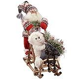 WeRChristmas Figurine de Père Noël sur traîneau Portant Un Gilet en Tricot Rouge/Vert 35 cm