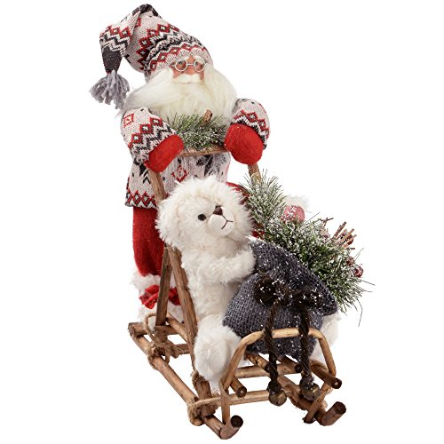 WeRChristmas decoratiefiguur Kerstman op slee in gebreide outfit, 35 cm, rood/groen