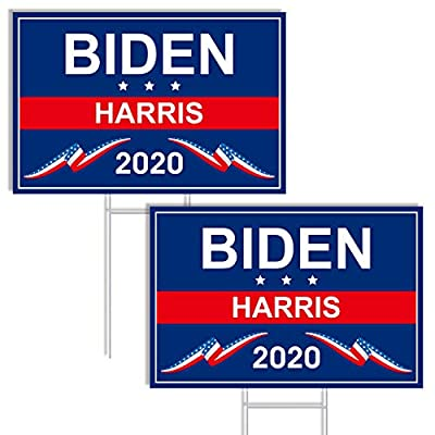 MIAHART 2 Pcs Biden Yard Sign 2020 18Inch x 12Inch Biden Harris Yard Signs with Stakes President 2020 Lawn Sign