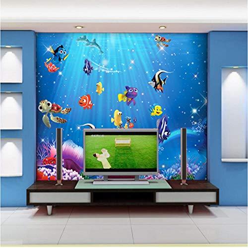 Sea World Fishes 3d Cartoon Murals Wallpaper für Baby Kinderzimmer Hintergrund 3d Fototapete 3d Cartoon Sticker Tapeten-400X280cm
