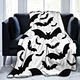 Feartdiy Halloween Bats Silhouette Blanket for Kids Adults Women,Soft Fleece Throw Blanket Cozy Bed Blankets King Size for Couch Bed Travel Camping 80'X60'