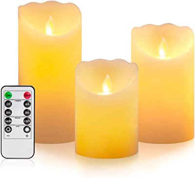 Flameless Candles Flickering with Timers Remote-Battery Candles with Remote Control Timer Candles Battery Operated-Led Candles Pillar Flickering with Remote-Fake Candles with Realistic Flame