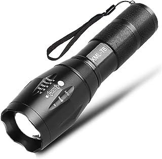 Akuou 懐中電灯 CREE XM-L T6 防水 高輝度 金属製 ズーム機能搭載 5段階点灯5バターン