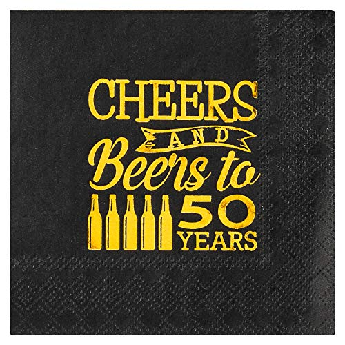 Crisky 50th Birthday Cocktail Napkins Black and Gold, Beverages Napkins for 50th Birthday Anniversary Decorations Cheers and Beers to 50 Years, 50 PCS, 3-Ply