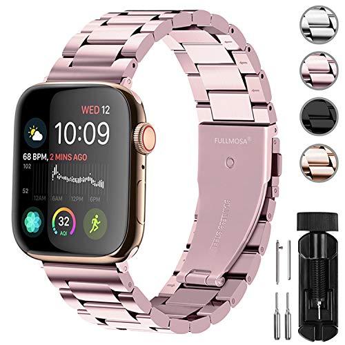 Fullmosa Acero Inoxidable Correa Compatible Apple Watch/iWatch Serie SE, Serie 6, Serie 5, Serie 4, Serie 3, Serie 2, Serie 1, Apple Watch Correa 38mm 40mm 42mm 44mm, Oro Rosa 42mm/44mm