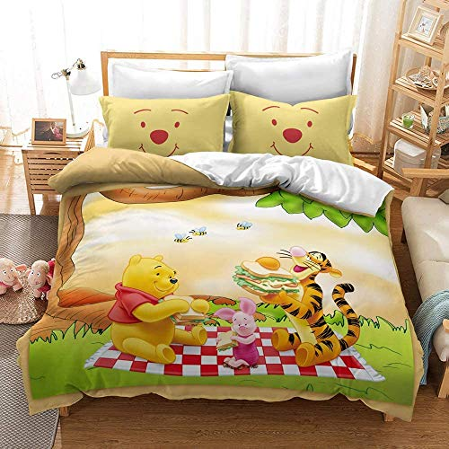 ZZALL - Juego de cama infantil 3D de Disney Winnie The Pooh Winnie The Pooh (funda nórdica y funda de almohada de 100% microfibra, funda de almohada de 80 x 80 cm (A11,150 x 200 + 50 x 75 x 2 cm)