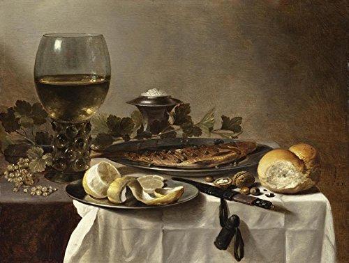 The Museum Outlet - Stilleven met vis, een glas wijn en brood - 1647 - Poster Print Online (24 x 18 Inch)