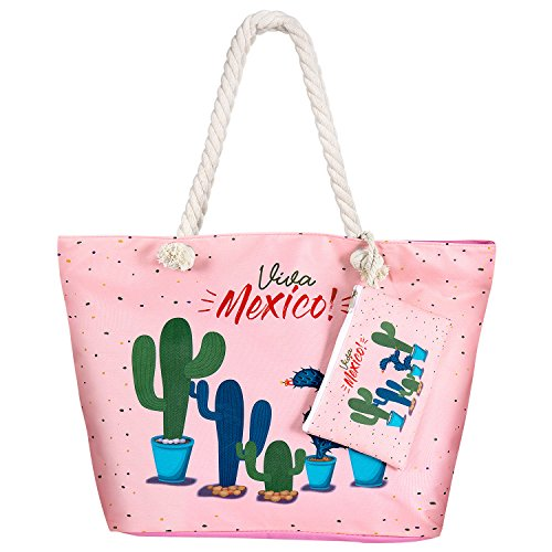 MOOKLIN Große Strandtasche mit Reißverschluss Sommer TascheVerschluss Damen Shopper Tasche Schultertasche Schwimmbad Badetasche Umhängetasche Beach Bag (STB-B)