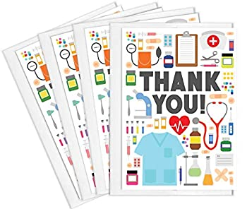 Tiny Expressions - Medical Appreciation Card Set for Nurses Doctors EMTs and Medical Administrative Staff with Envelopes  4 Pack    Full Color Inside and Outside Medical Themed Thank You Cards