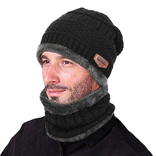 Goodbuy Wintermütze Herren Warm Beanie Mützen Strickmütze mit Schal de Fleecefutter (Schwarz)