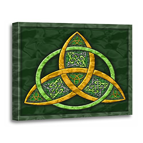 TORASS Canvas Wall Art Print Green Artof Celtic Trinity Knot Irish Artwork for Home Decor 16' x 20'