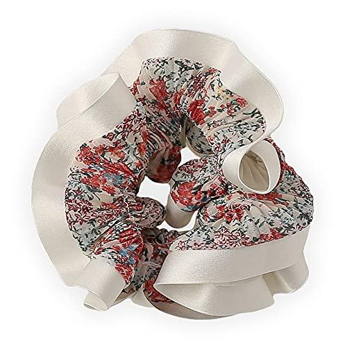 (ヴィラジオ)Viragio シュシュ ボリューム 大人 リボン 花柄 ヘアゴム 大人っぽい ヘアアクセサリー レディース 髪飾り ゴム シンプル 上品 ギフト プレゼント ブランド vi-1688 (ホワイト)