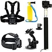 7 All-in-1 Combo Accessories Kit for Gopro Hero ANART Sports Camera - Head Strap Chest Belt Handle Monopod Folating Mount & Auto Suction Cup