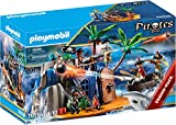 PLAYMOBIL Pirates 70556 - Isla Pirata con escondite del Tesoro y Barco Flotante, para niños de 4 a 10 años
