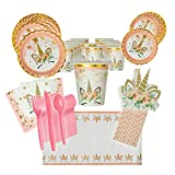 Unicorn Birthday Party Supplies for 16 Guests, Dinner and Dessert Plates, Cups, Napkins, Tablecloth, Pink-Striped Straws, Cutlery - Fun Unicorn-Themed Birthday or Baby Shower Event
