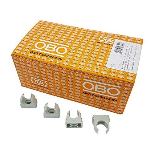 100x OBO Bettermann M20 Quick-Schellen | Klemmschelle | Rohrschelle | anreihbar | lichtgrau | 20mm | 100 Stück