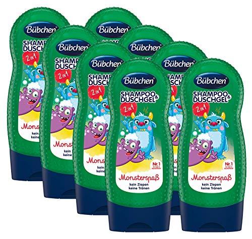 Bübchen Kids Shampoo und Duschgel Monsterspaß, Kinder-Shampoo und -duschgel, pH-hautneutrale Pflege für Kinderhaut, mit frischem Duft, Menge: 8 x 230 ml