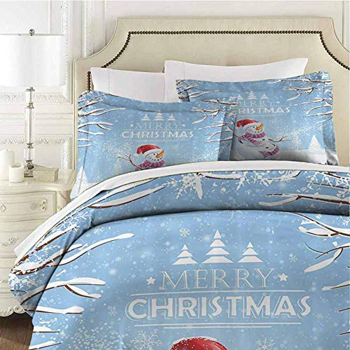 QIAOQIAOLO Christmas Bedding 3-Piece Queen Bed Sheets Set, Cute Snowman in a Snowy Winter Day with Xmas Hat Frosty Noel Kids Nursery Theme Lightweight Microfiber Cover Set Ultra-Soft White Blue