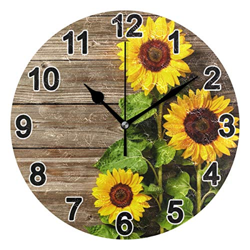 Chic Houses Board Sunflower Bathroom Kitchen Wall Clock for Girl Boy Non Ticking 9.5 Inch Fresh Plant Acrylic for Living Room Bedroom Home Office School Decor Art Round Clock 2031693