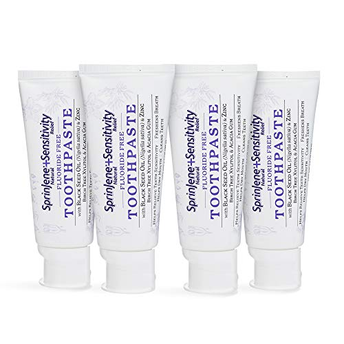 SprinJene Natural Fluoride Free Toothpaste for Sensitivity Relief of Teeth and Gums, Fresh Breath, and Helps Dry Mouth - Vegan, Dye-Free, Preservative-Free, and SLS Free Toothpaste - 4-Pack 3.5 oz