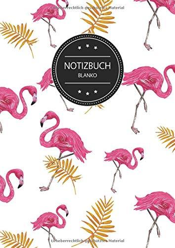 Notizbuch Blanko: Blanko Notizbuch A4 110 Seiten, Vintage Softcover, Weißes Papier - Dickes Notizheft, Skizzenbuch, Zeichenbuch, Blankobuch, Sketchbook; Motiv: Flamingo Muster Tropisch Exotisch