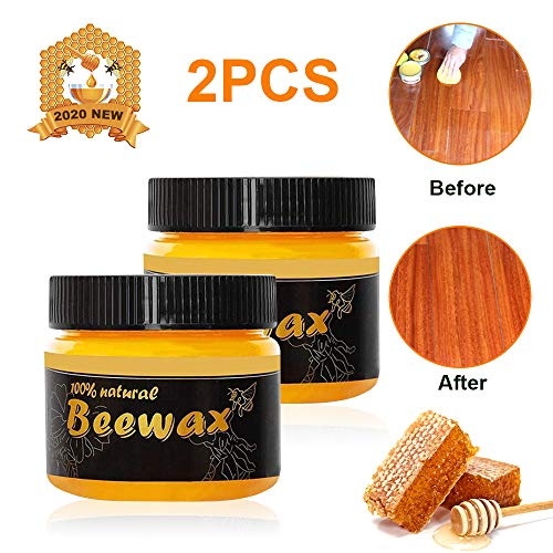 ANMY Wood Seasoning Beewax - All-Purpose Beewax, Traditional Natural Wood and Furniture Polish Beeswax, Home Furniture Cleaning Protector to Beautify & Protect - (2 Pack)