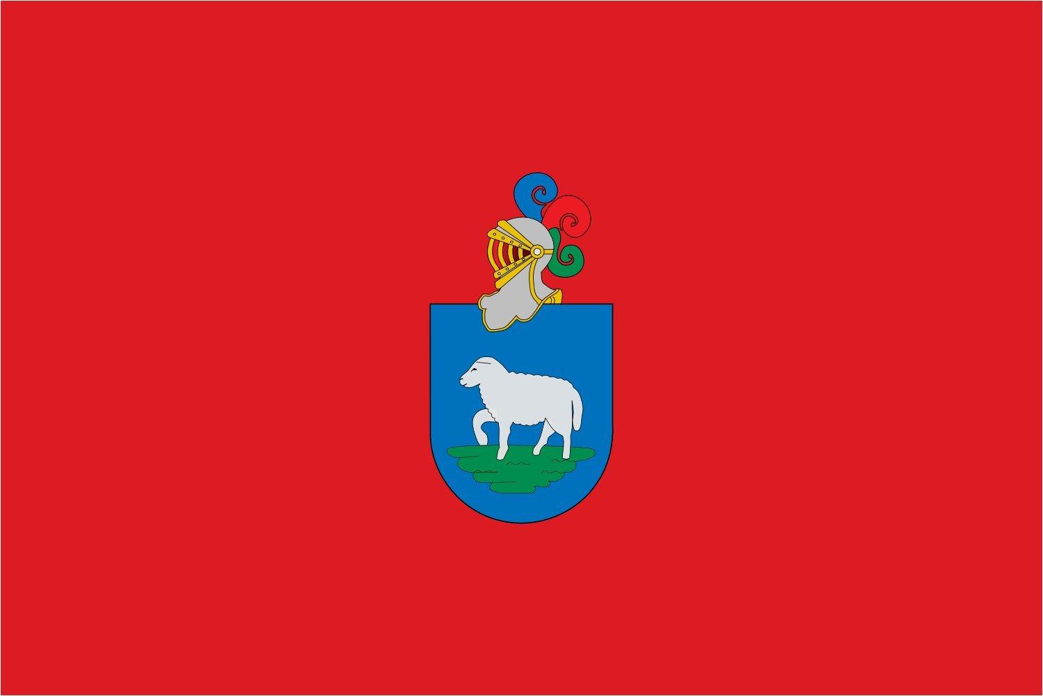 magFlags Bandera XL Municipio de Ansoáin Navarra - España Proporciones 2/3 Color Rojo con el Escudo de Ansoáin en el Centro en Sus esmaltes | Bandera Paisaje | 2.16m² | 1: Amazon.es: Jardín