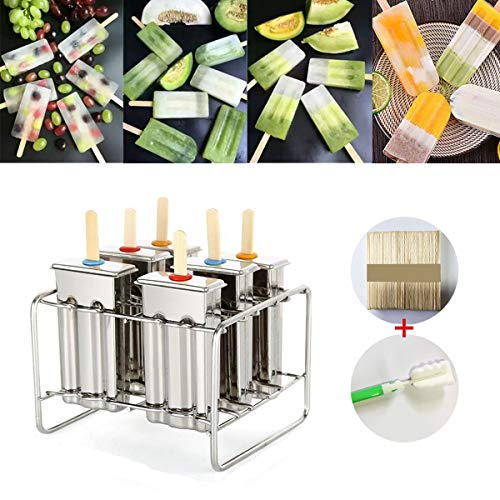 MJJEsports Roestvrij Staal Popsicle Mould Ice Pop Lolly Ice Cream Stick Houder 6 Mallen
