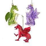 Kurt Adler Shiny Red Purple Green Dragon 4.5 inch Glass Decorative Hanging Ornament Set of 3