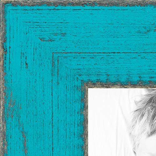 ArtToFrames 11x17 Inch Green Picture Frame, This 1' Custom Wood Poster Frame is Distressed Turquoise, for Your Art or Photos - Comes with Regular Glass, WOMSM-ECO095-TUR-11x17